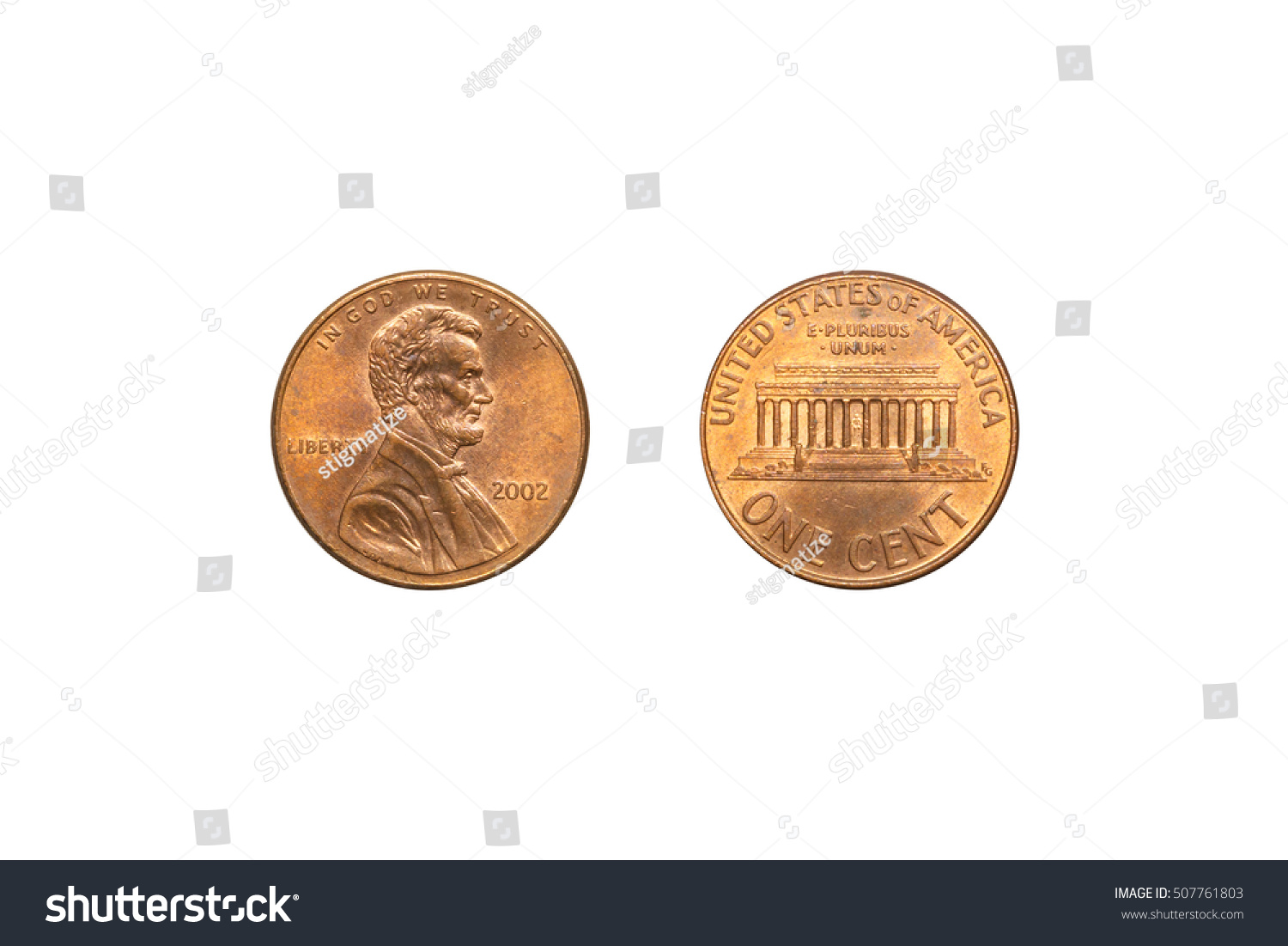 Front Back Usa Coin 1 Cent Stock Photo