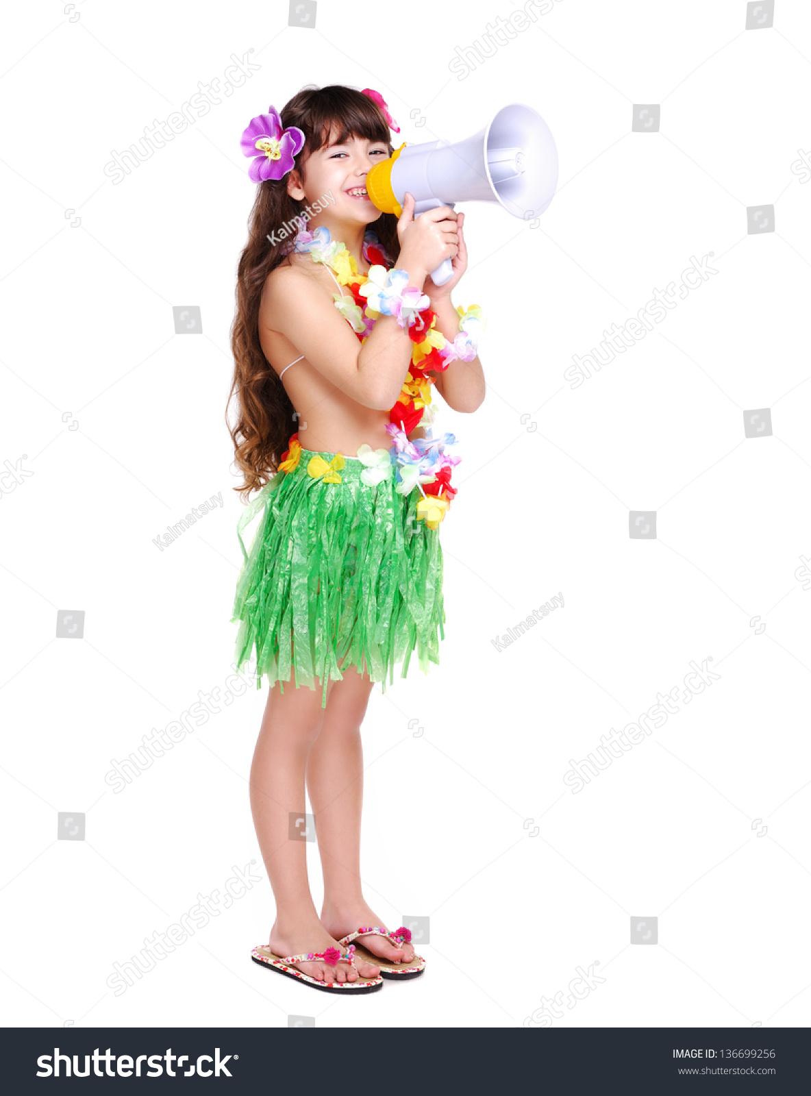 Full Length Portrait Of A Little Girl In Hawaiian Dress