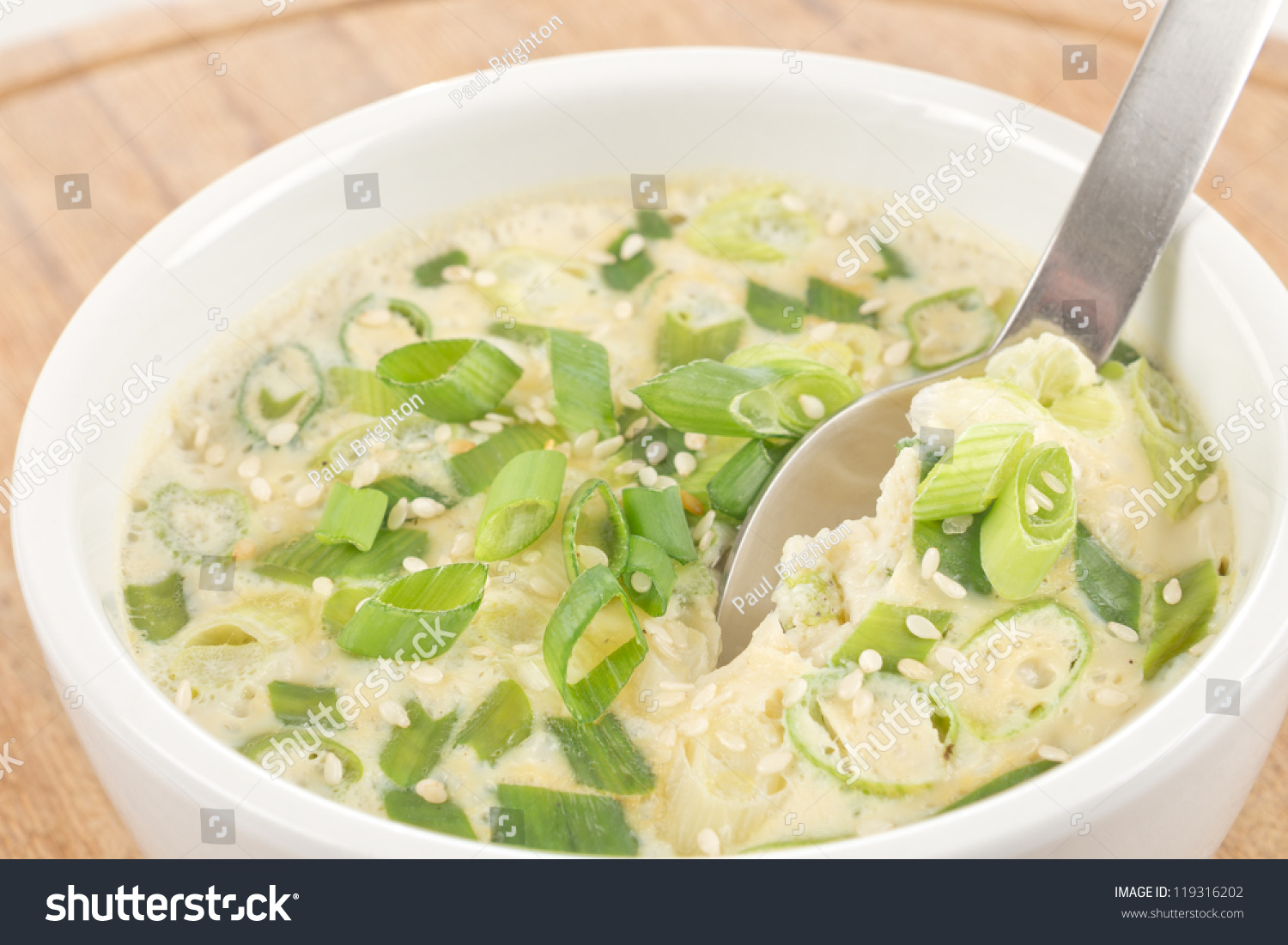 Gaeran Jim - Korean Steamed Egg Casserole With Spring Onions And Sesame Seeds. Stock Photo 119316202 : Shutterstock