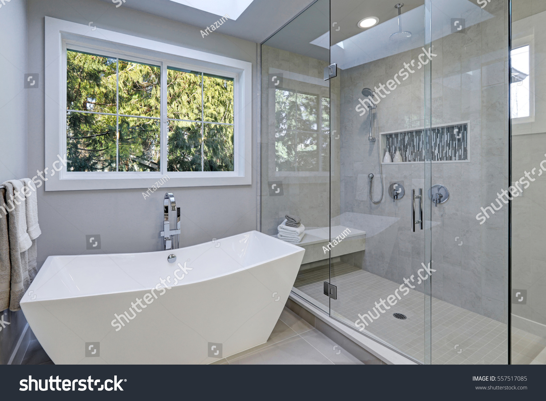 https www shutterstock com image photo glass walk shower gray subway tiled 557517085