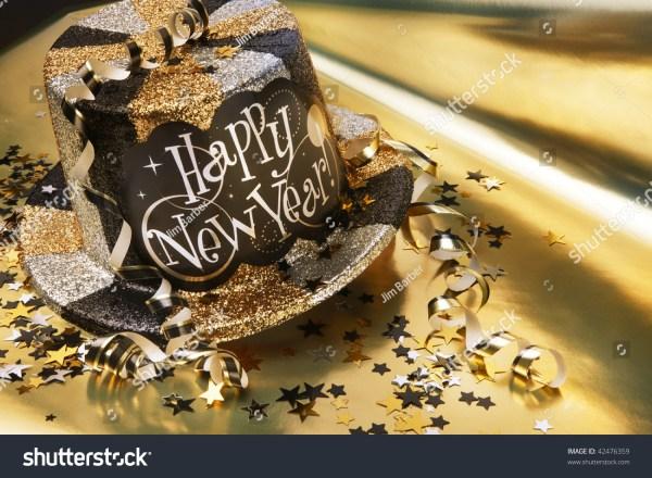Glittery New Years Hat Streamers Confetti Stock Photo ...