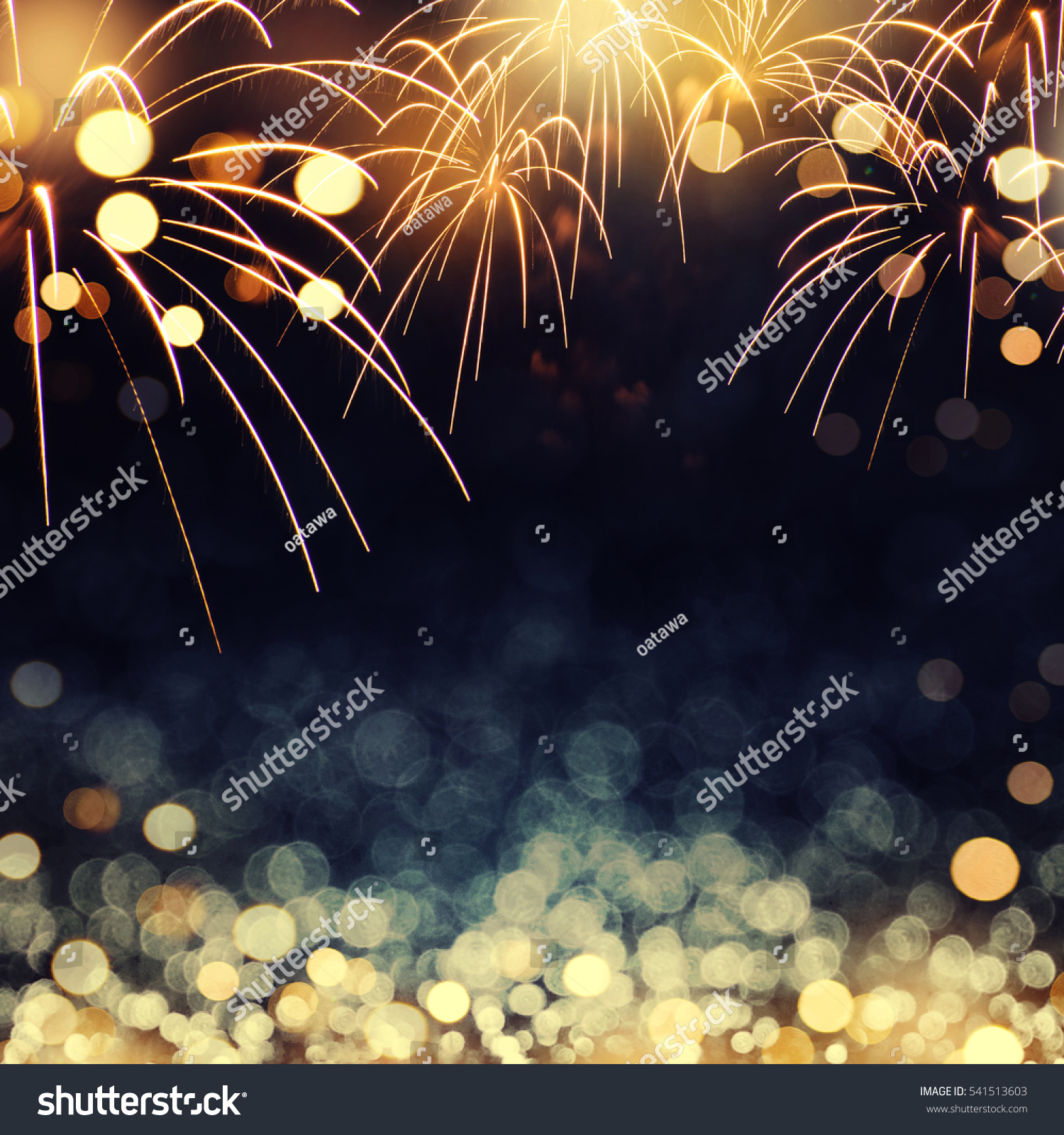 Gold Dark Blue Fireworks Bokeh New Stock Photo 541513603