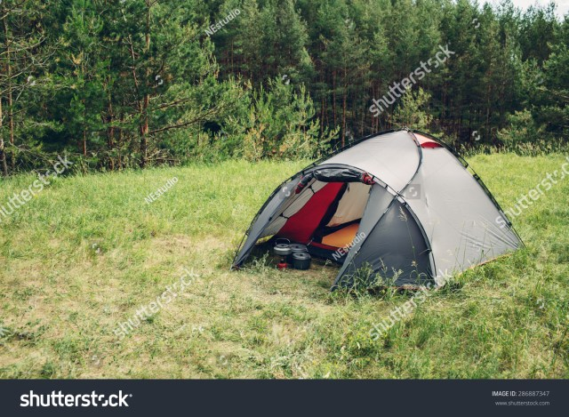 Grey Tourist Big Tent Summer Forest Stock Photo 286887347 ...