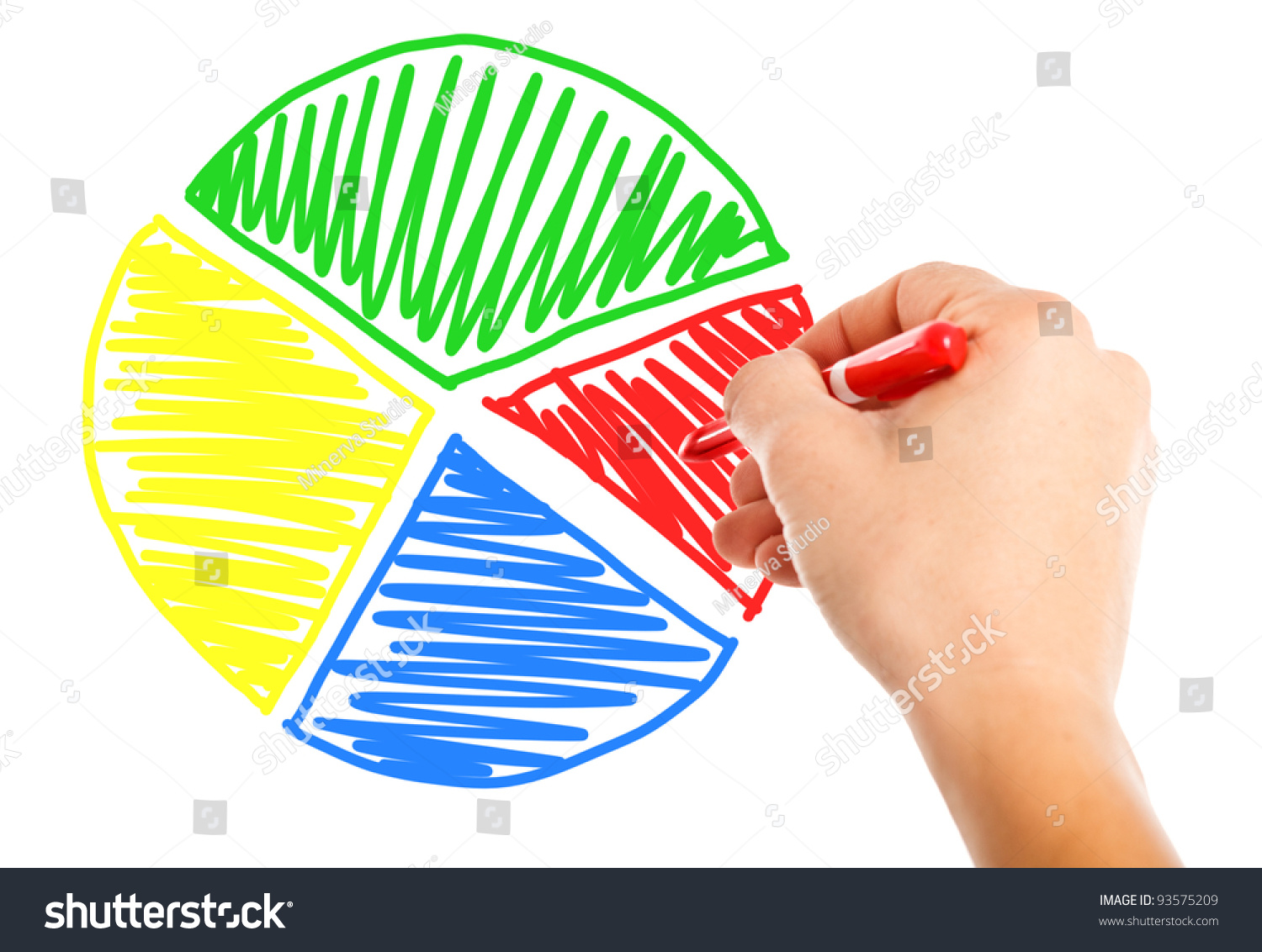 Hand Drawing A Pie Chart Stock Photo Shutterstock