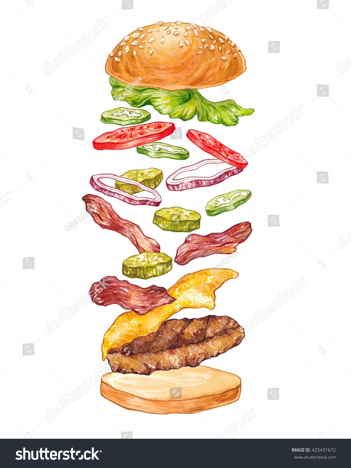 Hand Drawn Watercolor Composition Flying Burger Stock