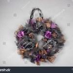 Handmade Halloween Wreath Purple Black Roses Stock Photo Edit Now 771167083