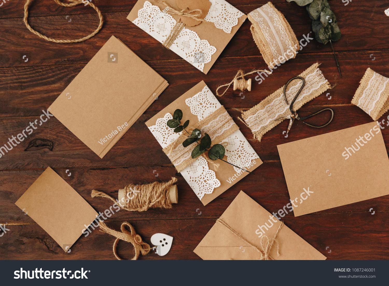 https www shutterstock com image photo handmade wedding invitation card diy concept 1087246001