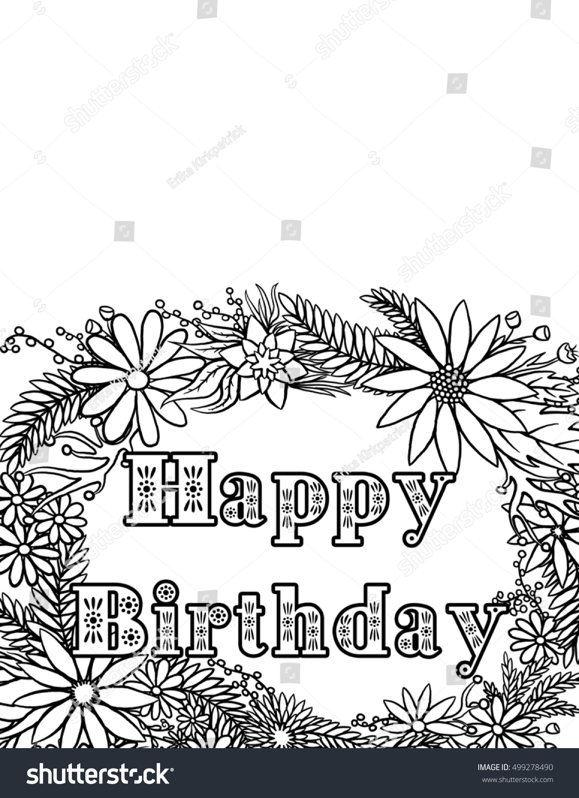 Happy Birthday Card Coloring Page Stock Illustration