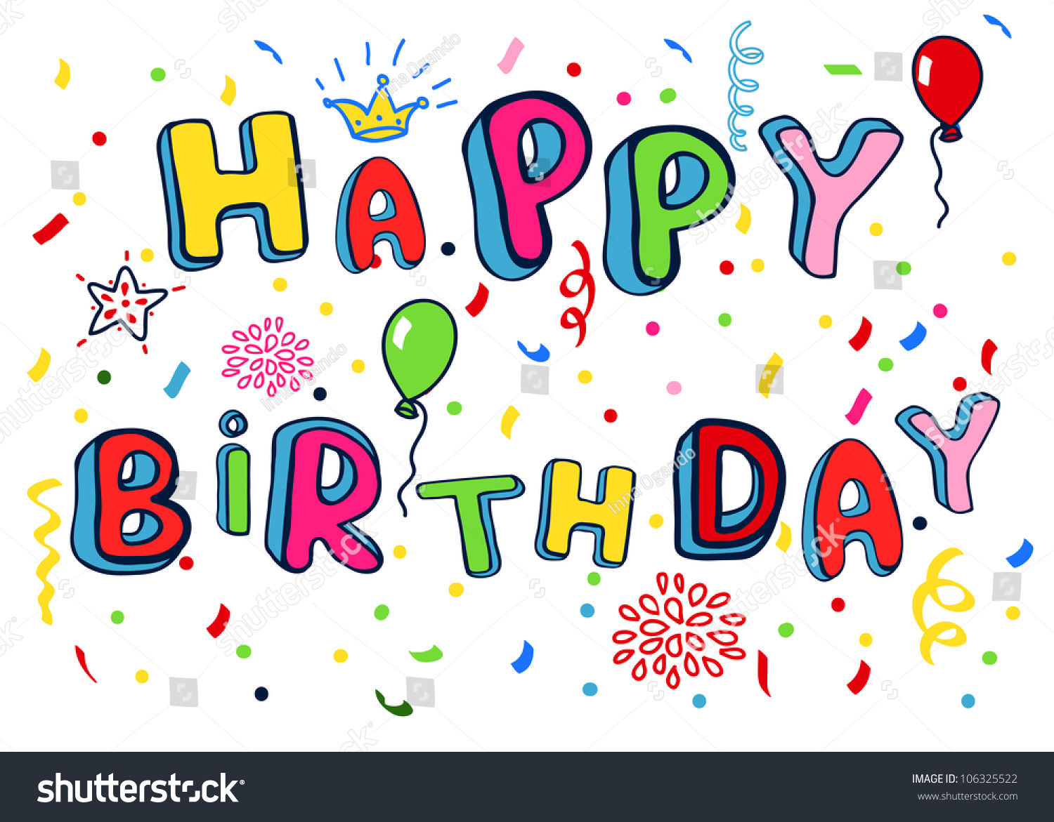 Happy Birthday Poster. Rainbow Color Letters . Stock Photo 106325522 : Shutterstock