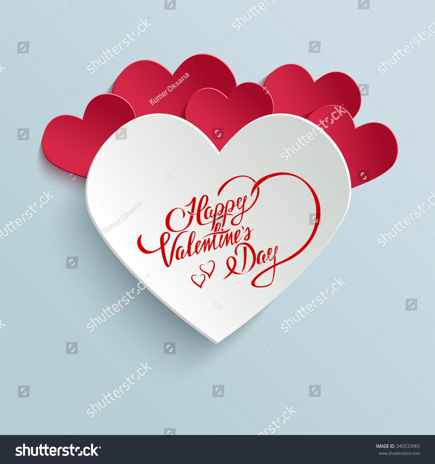 Happy Valentines Day Hand Lettering Greeting Stock