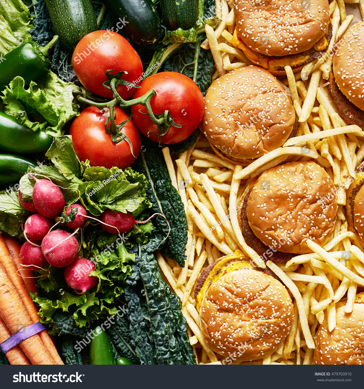Healthy Vs Unhealthy Food Two Piles Stock Photo