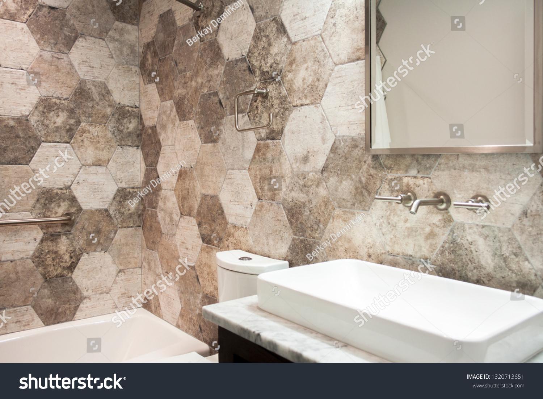 https www shutterstock com image photo hexagon wall tile bathroom modern vanity 1320713651