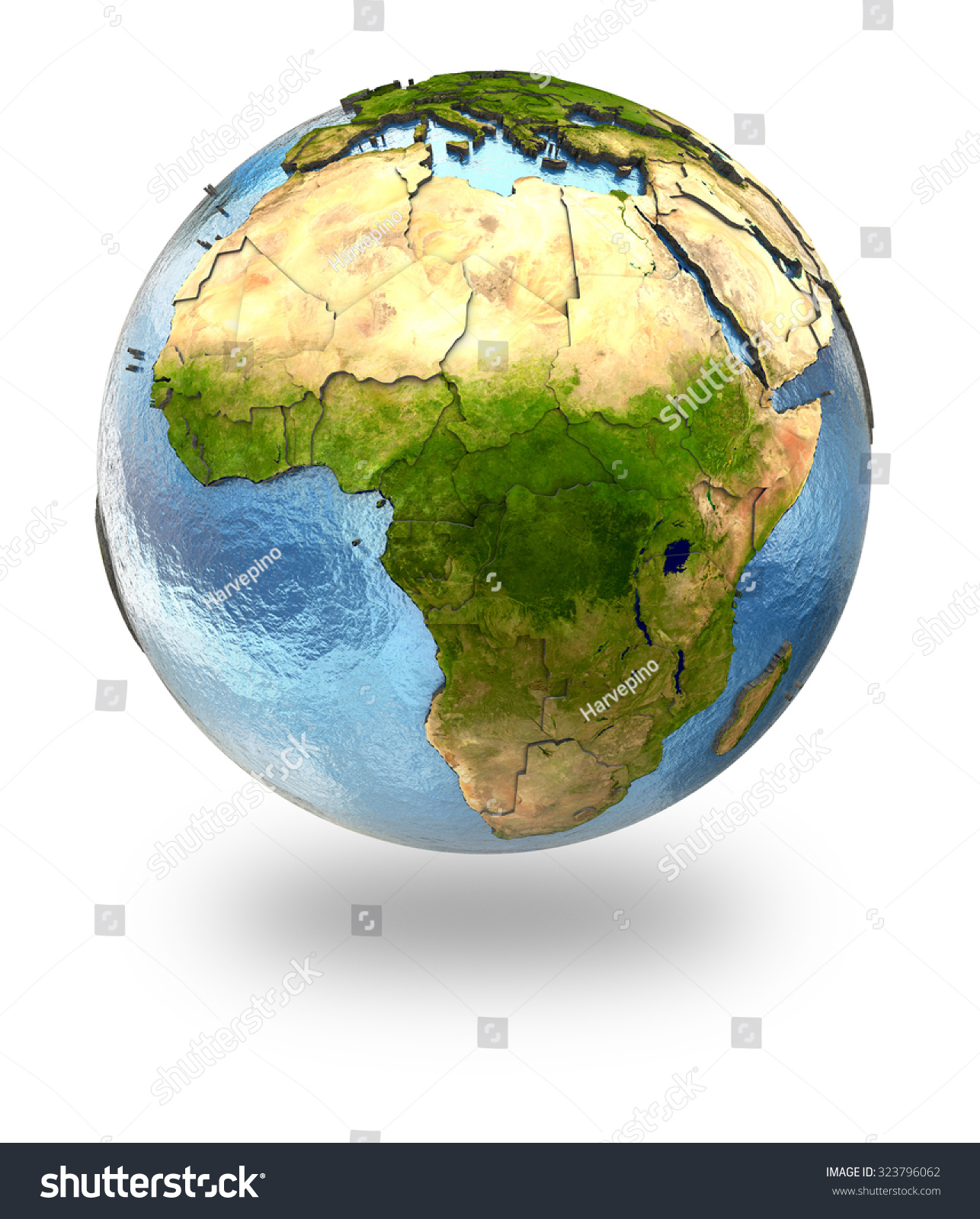 Highly Detailed Planet Earth Embossed Continents Stock
