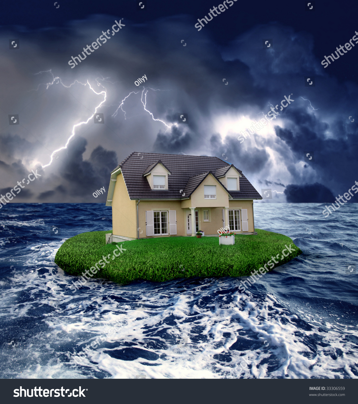 House Sea During Storm Stock Photo