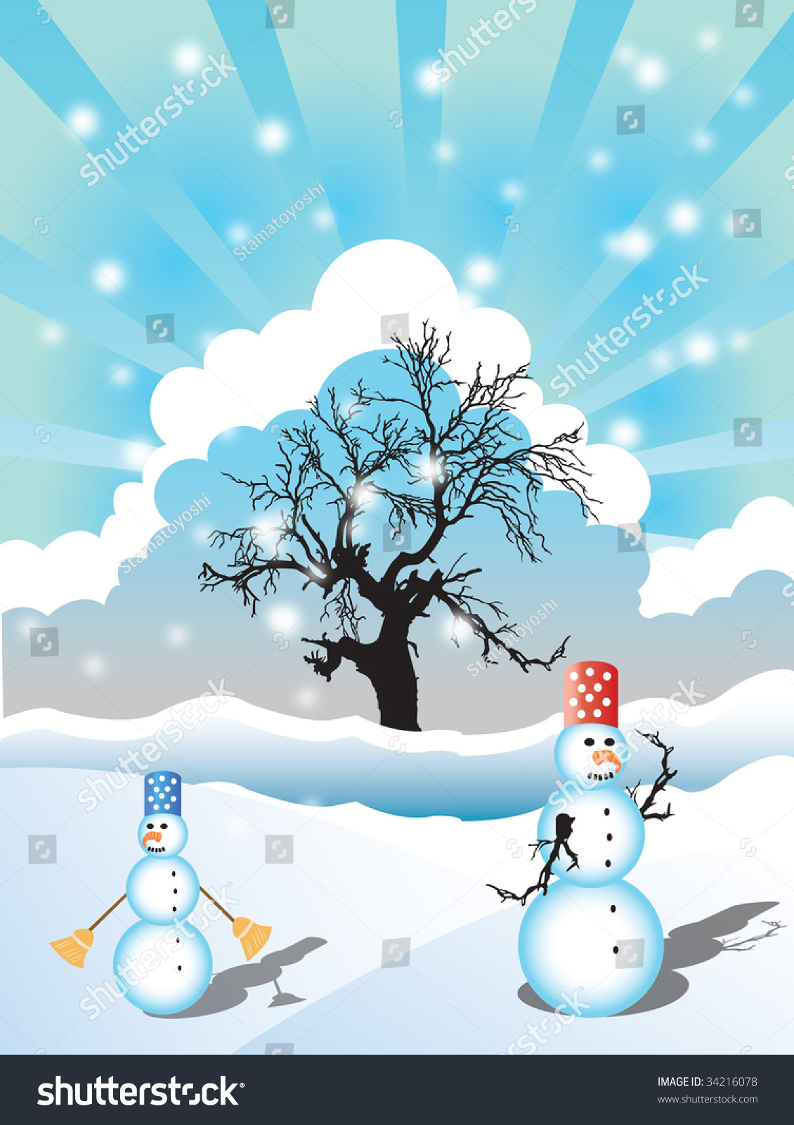 Illustration Of A Winter Landscape With Two Snowmen And