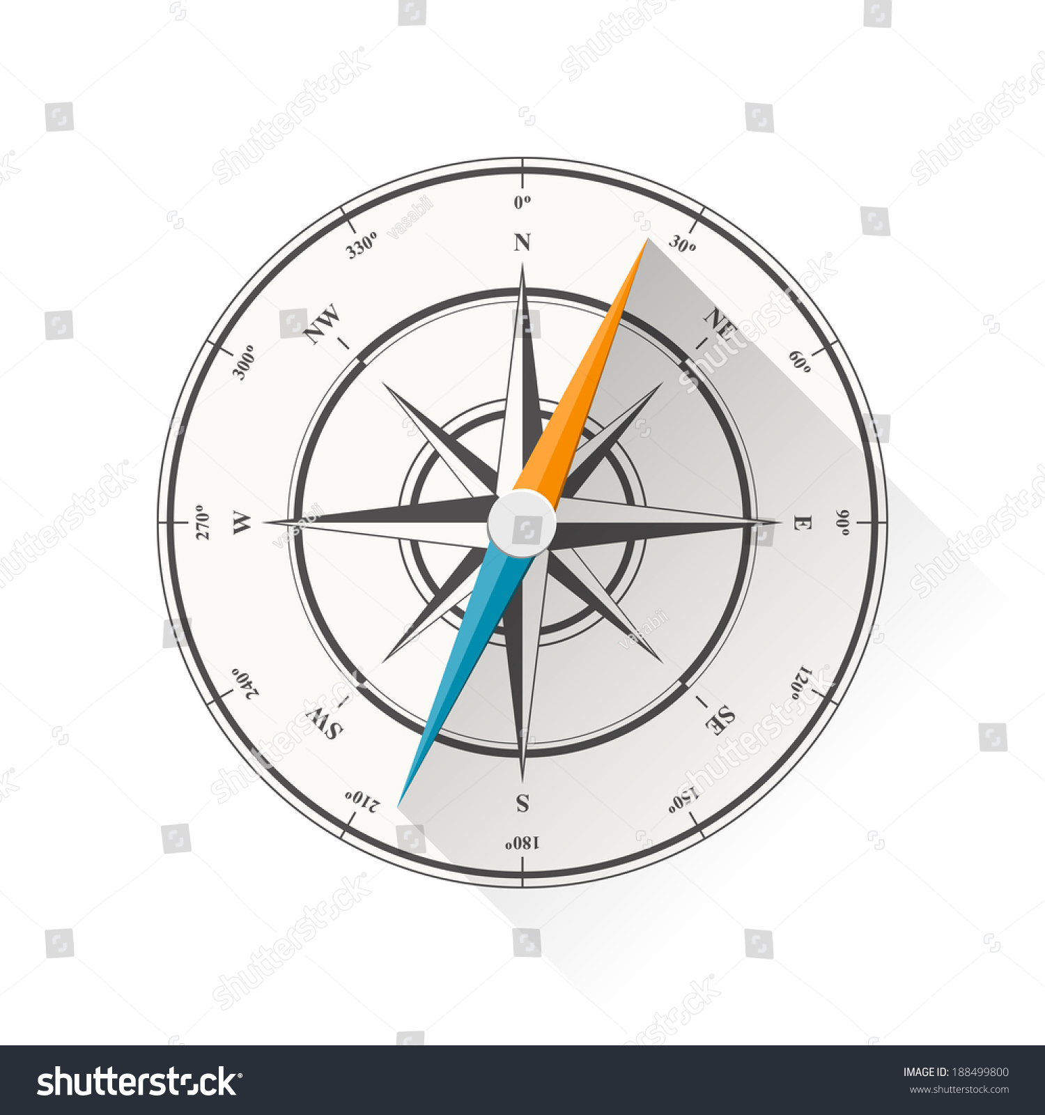 Illustration Of Compass Diagram Isolated On White