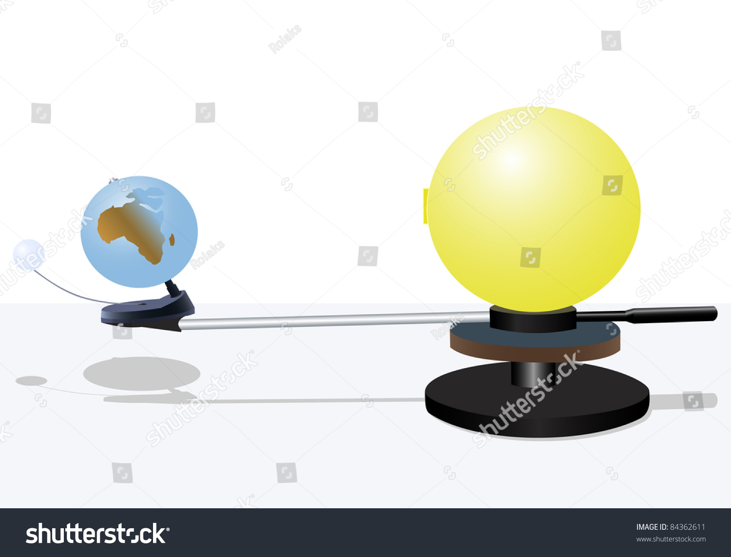 Illustration Of Model Of The Sun And The Earth With The