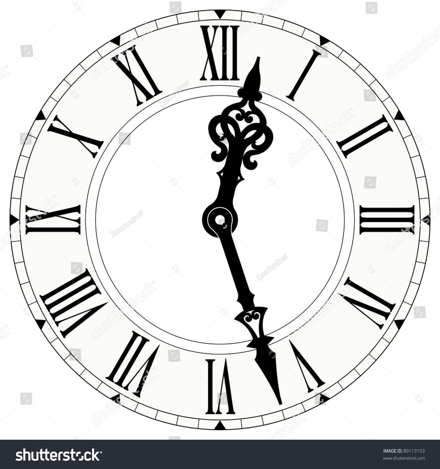 Illustration Roman Numeral Clock Stock Illustration