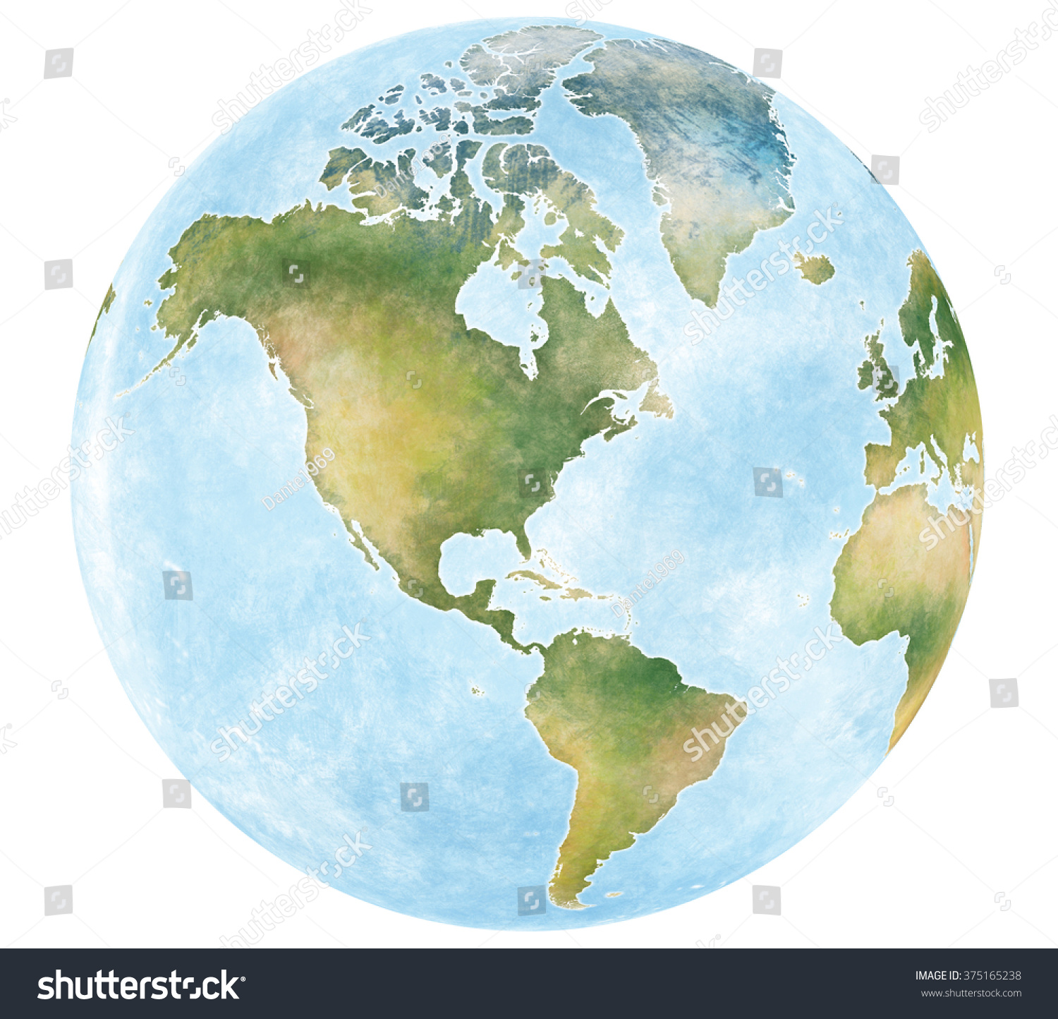 Illustration World Map Continents Planet Earth Stock