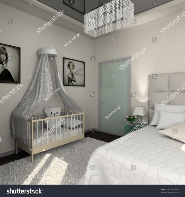 Interior Of Modern Bedroom. 3d Render Stock Photo 10595884 ...