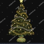 Isolated On Black Christmas Tree Stock Illustration 26408051
