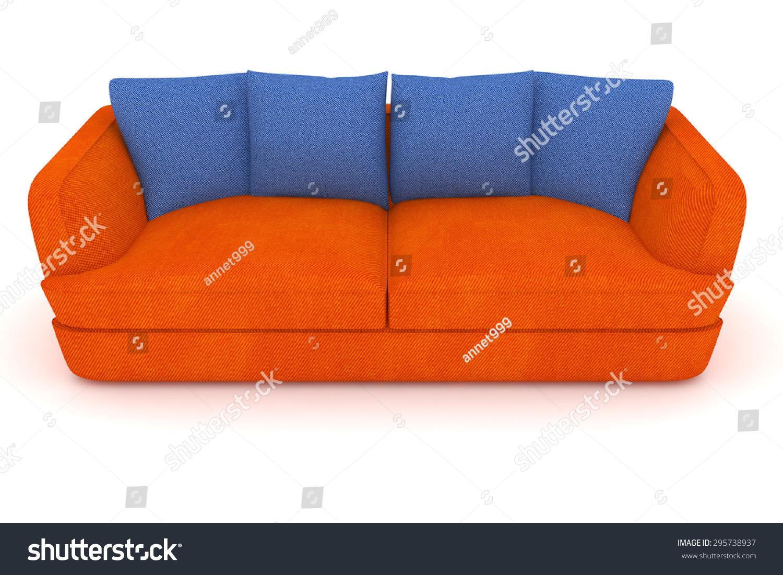 https www shutterstock com image illustration isolated orange sofa blue cushions 295738937