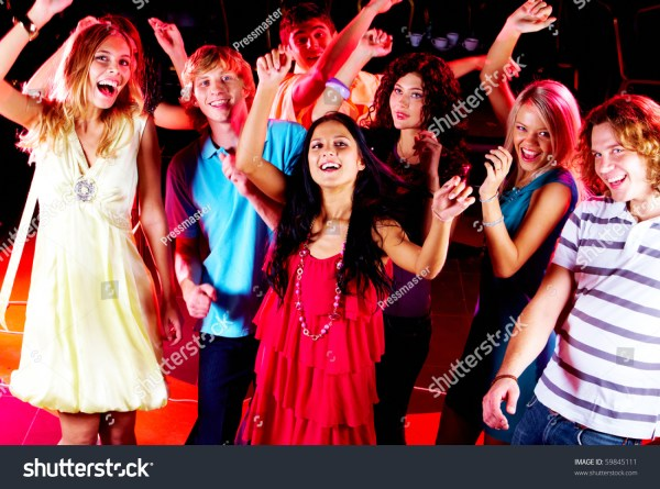 Joyful Teens Dancing Night Club Party Stock Photo 59845111 ...