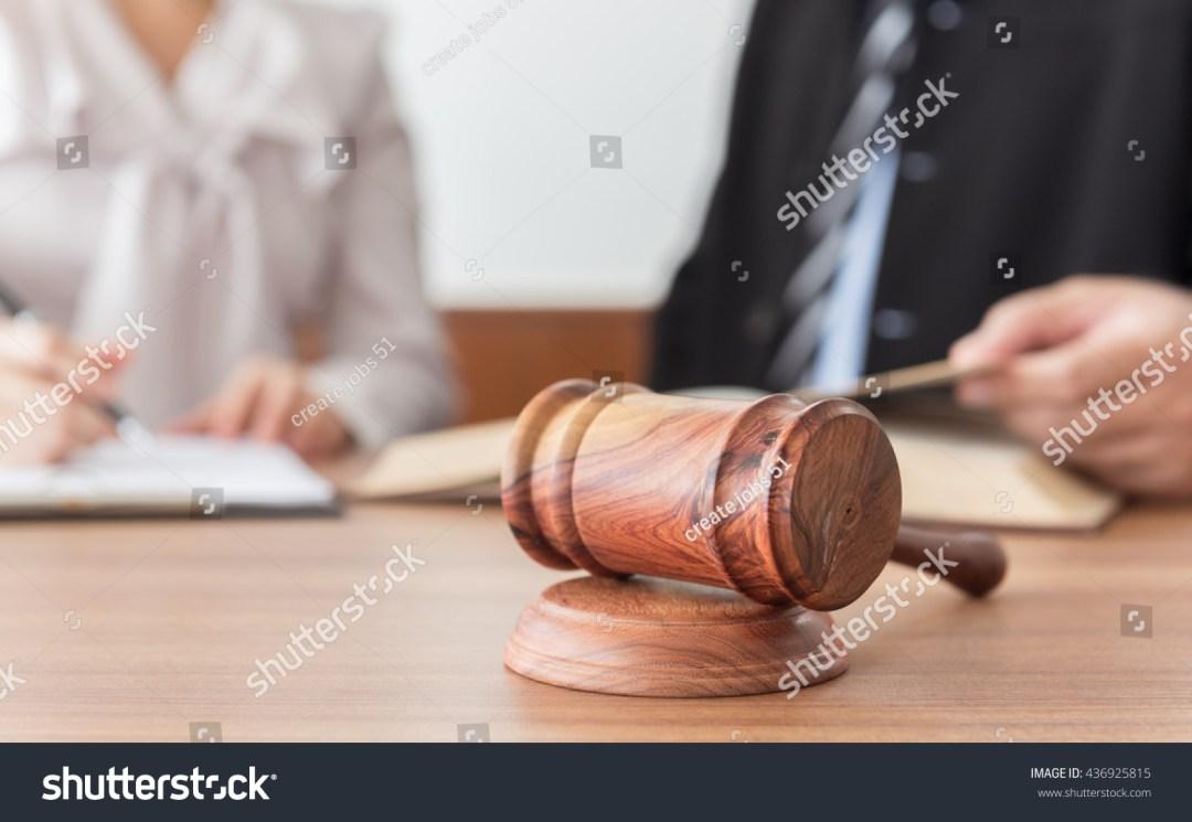 Judge Gavel Lawyers Having Team Meeting Stock Photo