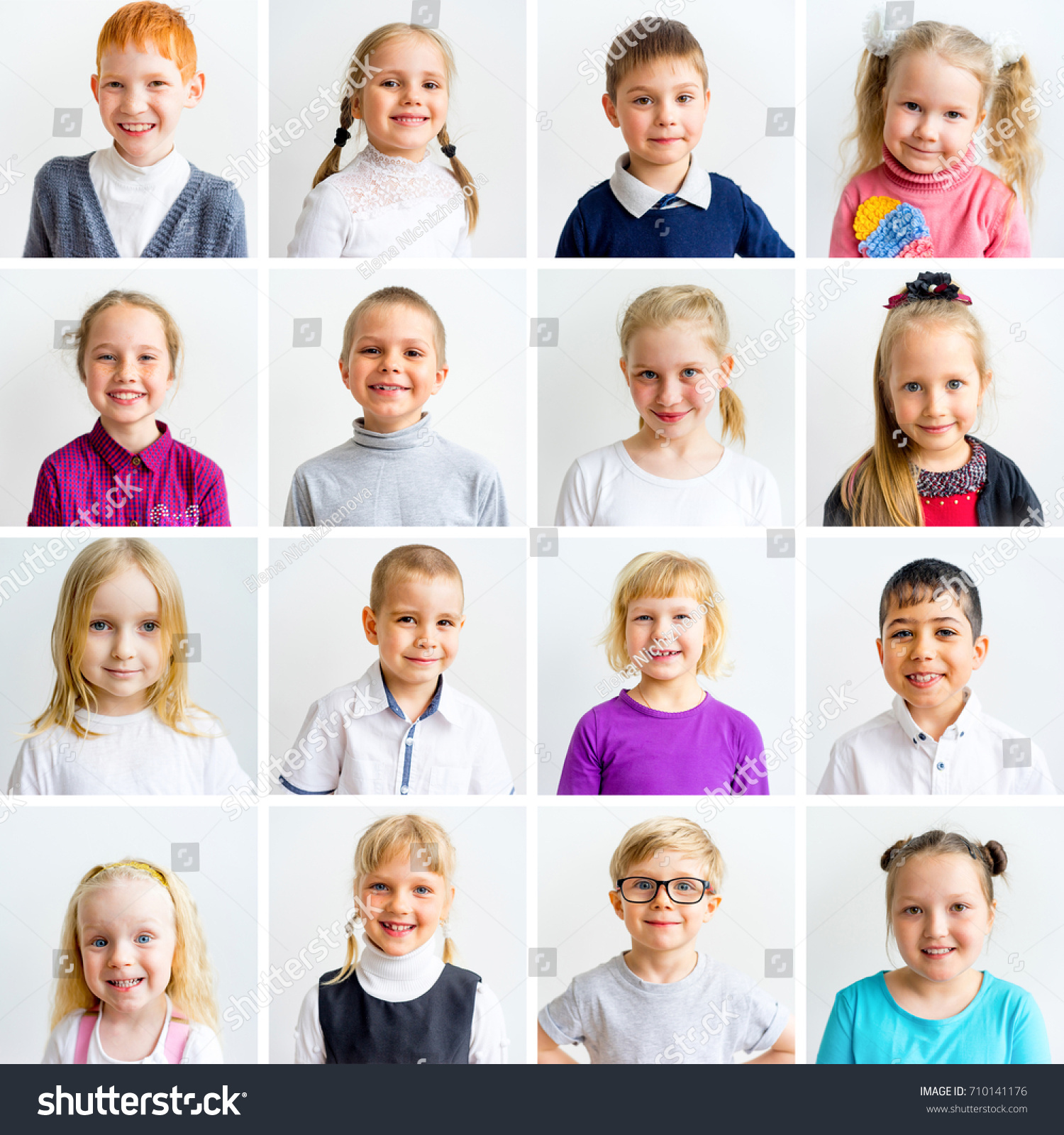 Kids Emotions Collage Stock Photo