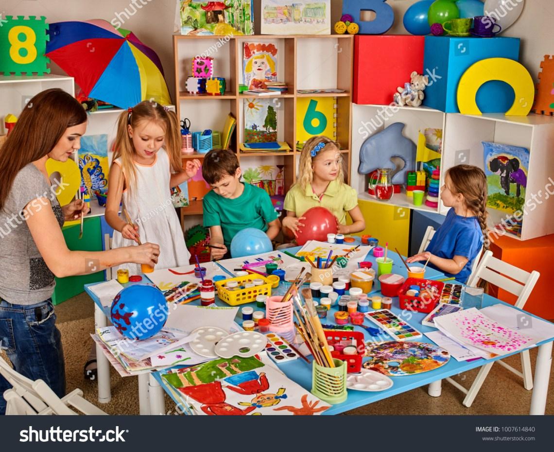 Kids Playroom Organization Children Painting Drawing Stock Photo Edit Now 1007614840