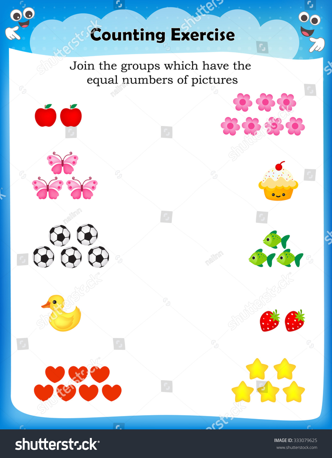 Kids Worksheet Counting Exercises Count Match Stock