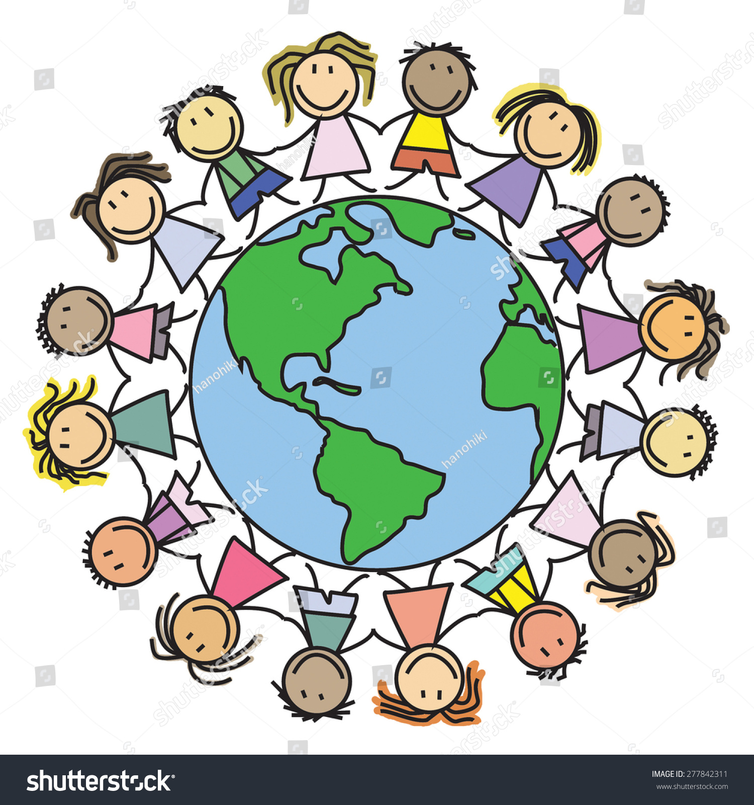 Kids World Children On Globe Drawing Stock Illustration