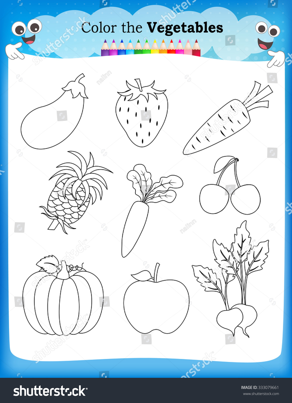Kids Worsheet Fruits Vegitables Stock Illustration