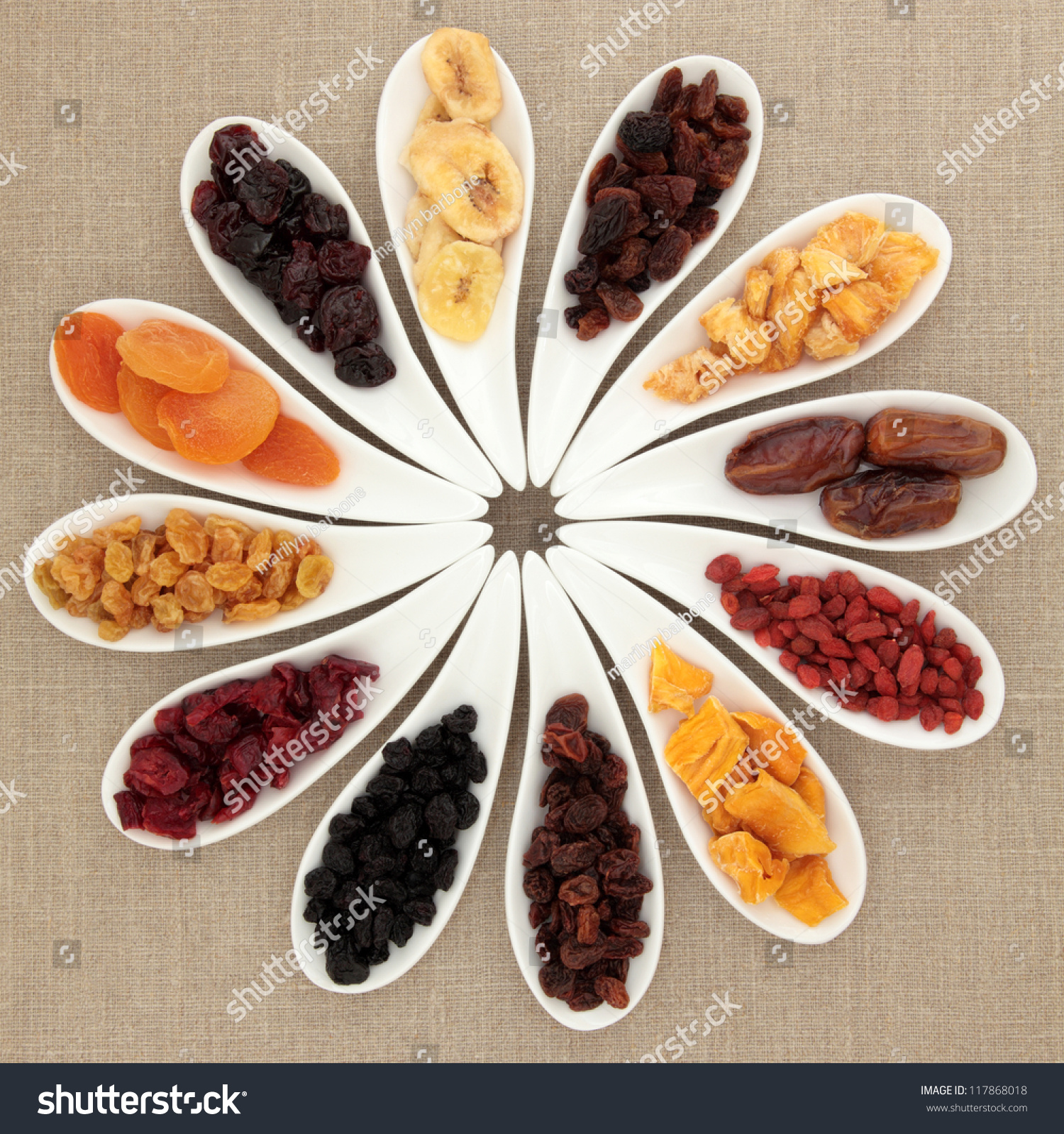 Large Dried Fruit Selection In White Porcelain Dishes Over Beige Linen Background. Stock Photo 117868018 : Shutterstock