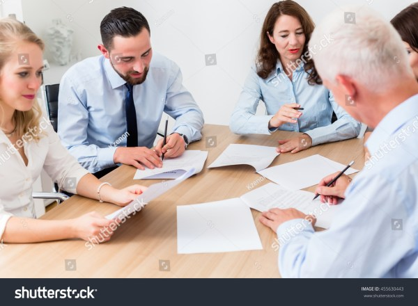 Lawyers Having Team Meeting Law Firm Stock Photo 455630443 ...