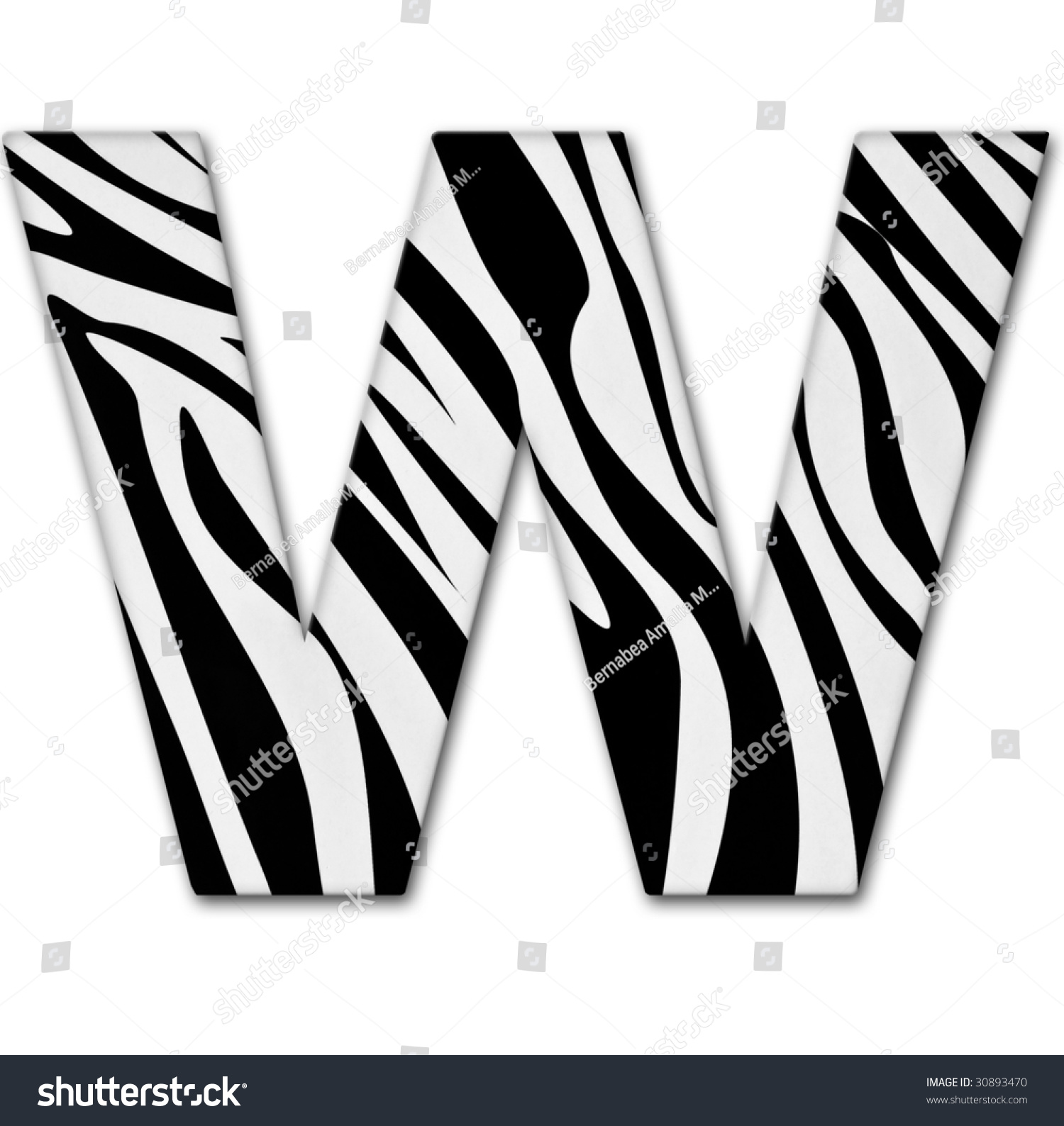 Letter W From The Alphabet Made Of Animal Print It Has A