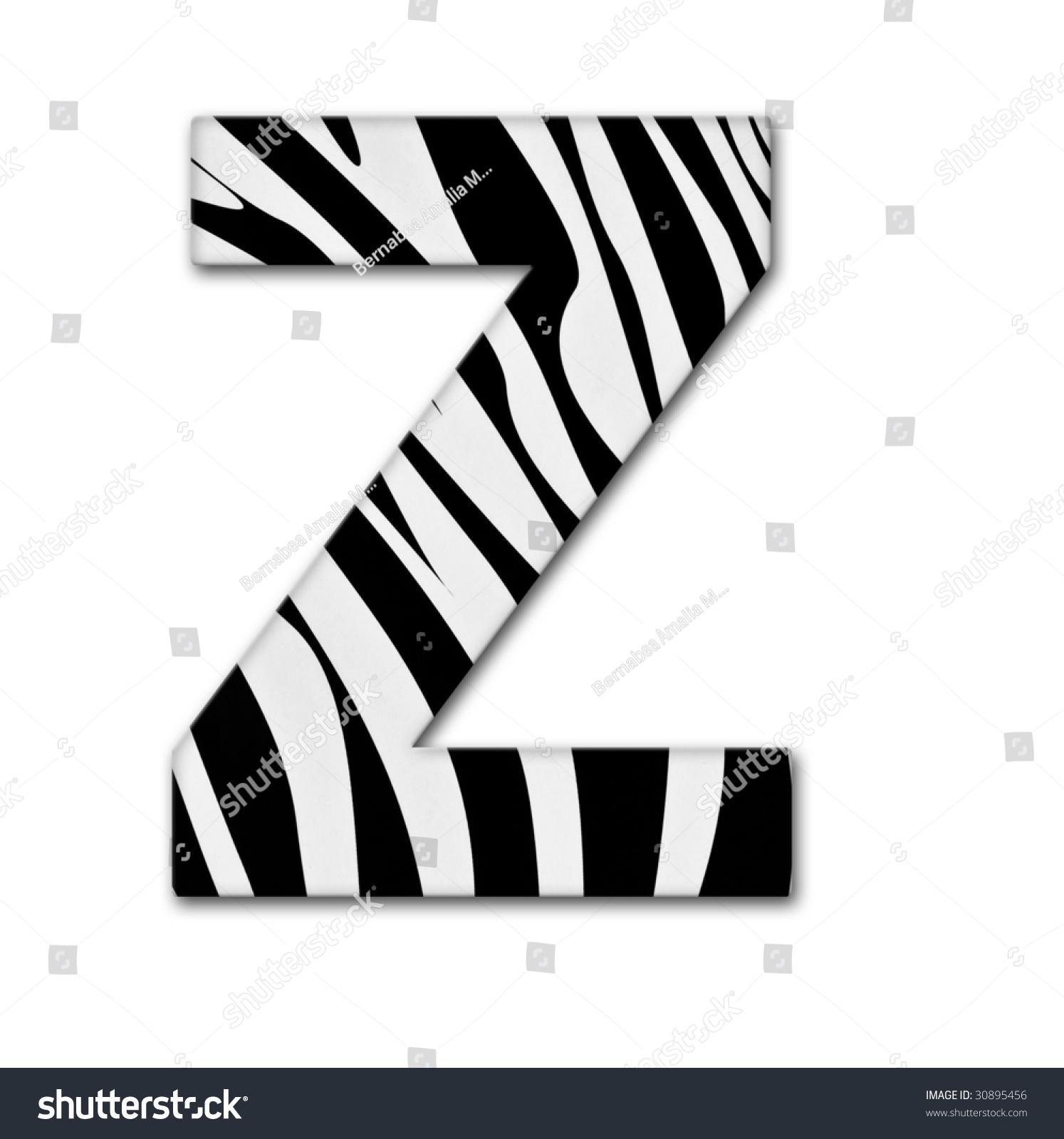 Letter Z Alphabet Made Animal Print Stock Photo