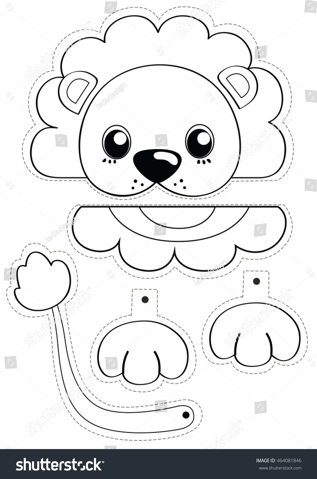 Lion Black White Cartoon Painting Cut Stock Illustration
