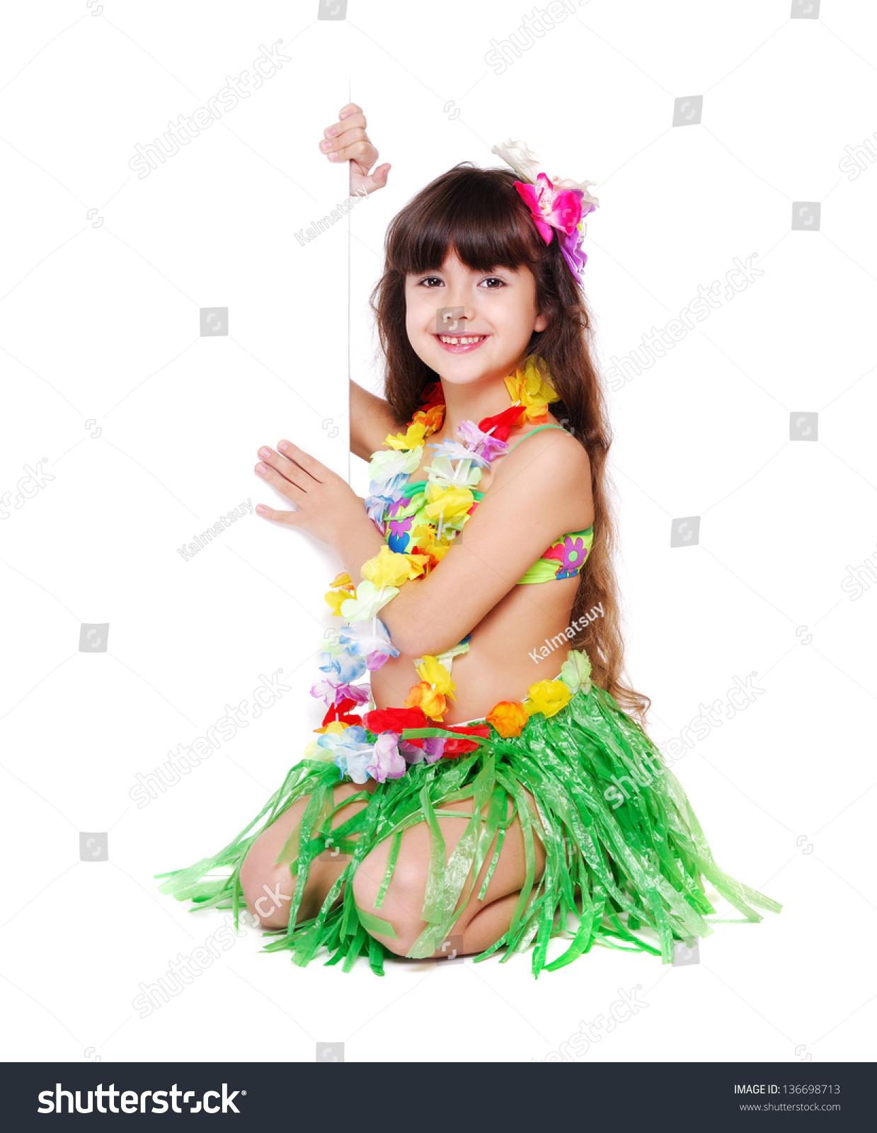 Little Girl Wearing Hawaiian Dress Sitting Stock Photo