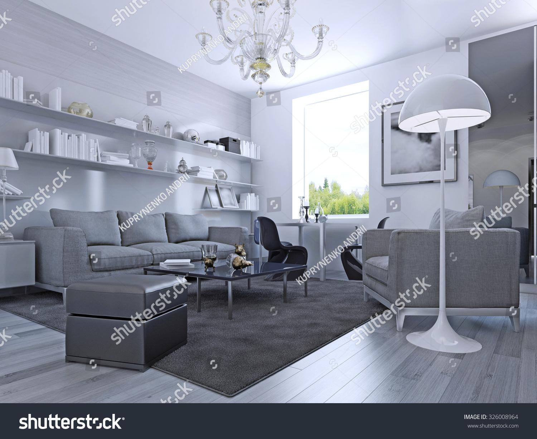 Living Room Modern Style Elegant Living Stock Illustration