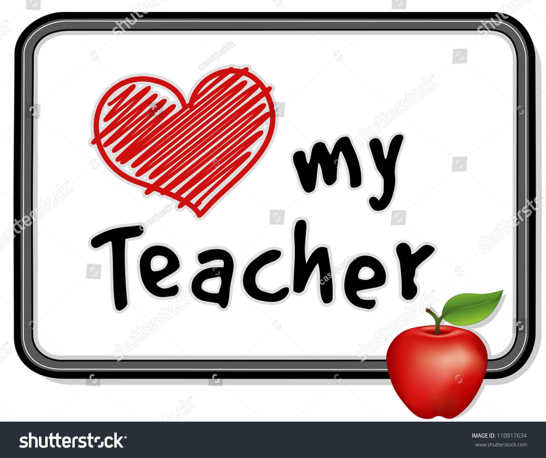 Love My Teacher Big Red Heart Stock Illustration