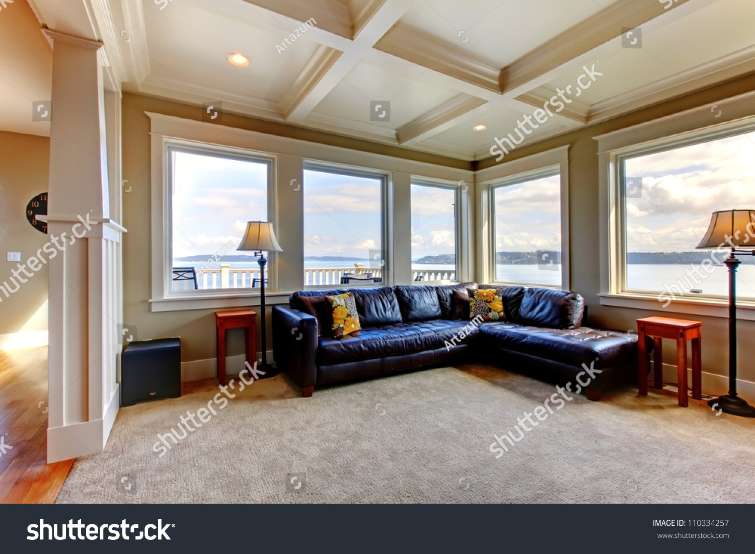 Luxury Home Living Room Many Windows Stock Photo 110334257 Shutterstock