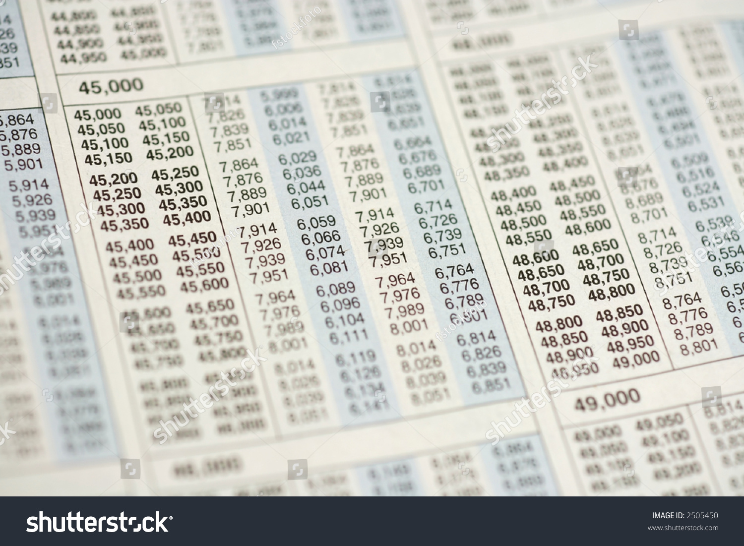 Macro Selective Focus View Of Income Tax Table Stock Photo Shutterstock