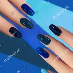Manicure Different Shades Blue Light Dark Stock Photo Edit Now 553626283