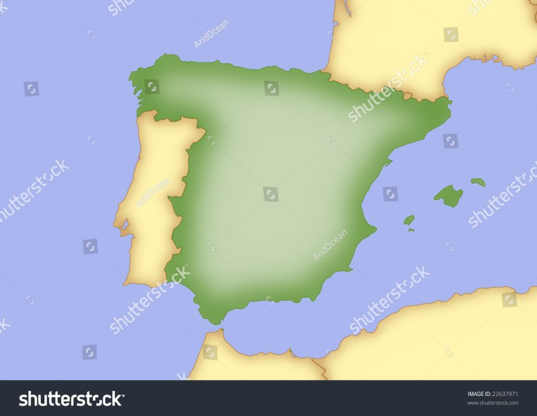 Map Spain Borders Surrounding Countries Stock Illustration 22637971     Map of Spain  with borders of surrounding countries