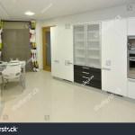 Modern Apartment Big Kitchen Beautiful Decoration Stock