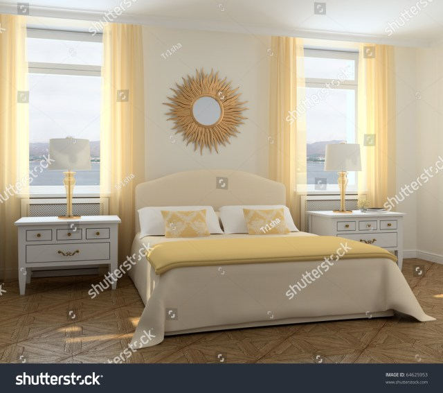 Modern Bedroom Interior. 3d Render. Photo Behind The ...