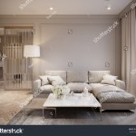 Modern Beige Gray Living Room Interior Stock Illustration