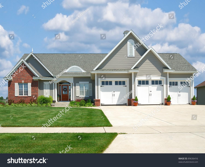 Modern Brick Vinyl Siding House Suburbs Stock Photo ... on Modern Vinyl Siding  id=22882