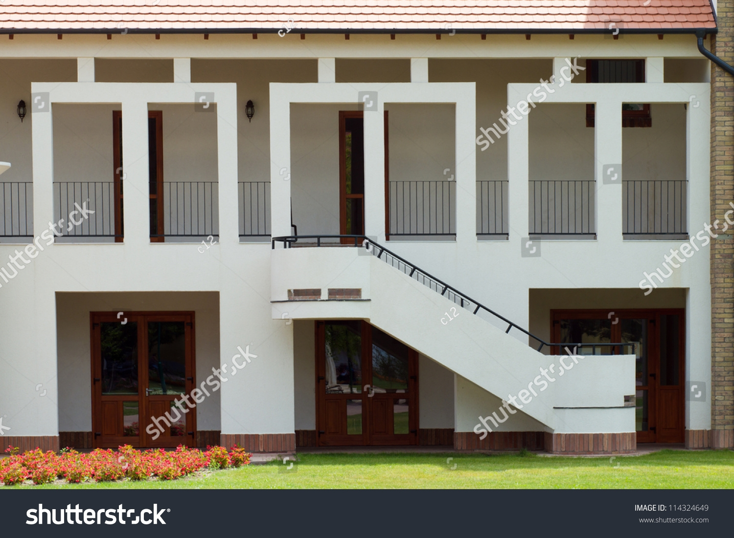 Modern Building Front Side Stairs Stock Photo Edit Now 114324649   Front Side Staircase Design   Out Staircase   Gallery Photo Indian   Outer Wall   Home Front Arch   Indian Style